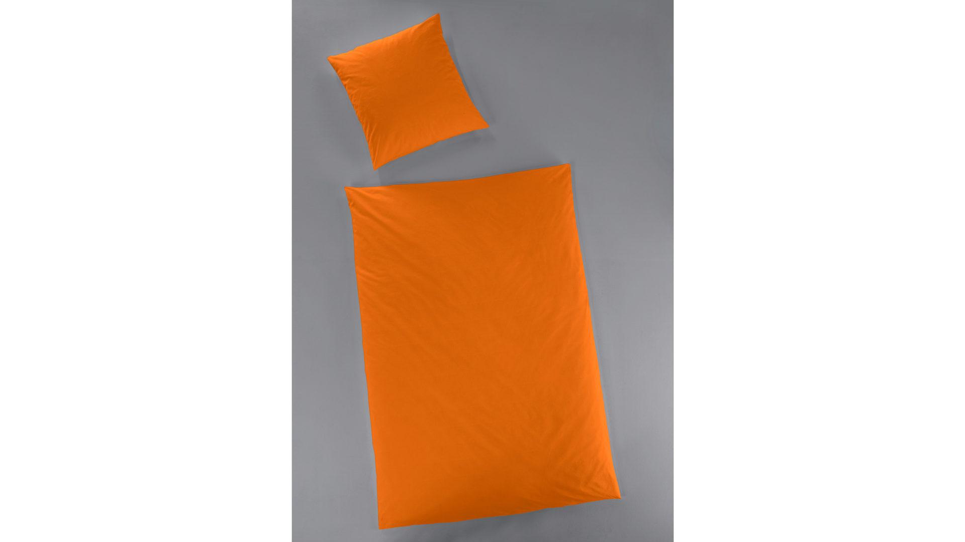 Hahn Haustextilien Luxus Satin Bettwäsche Uni Farbe Orange 155x220