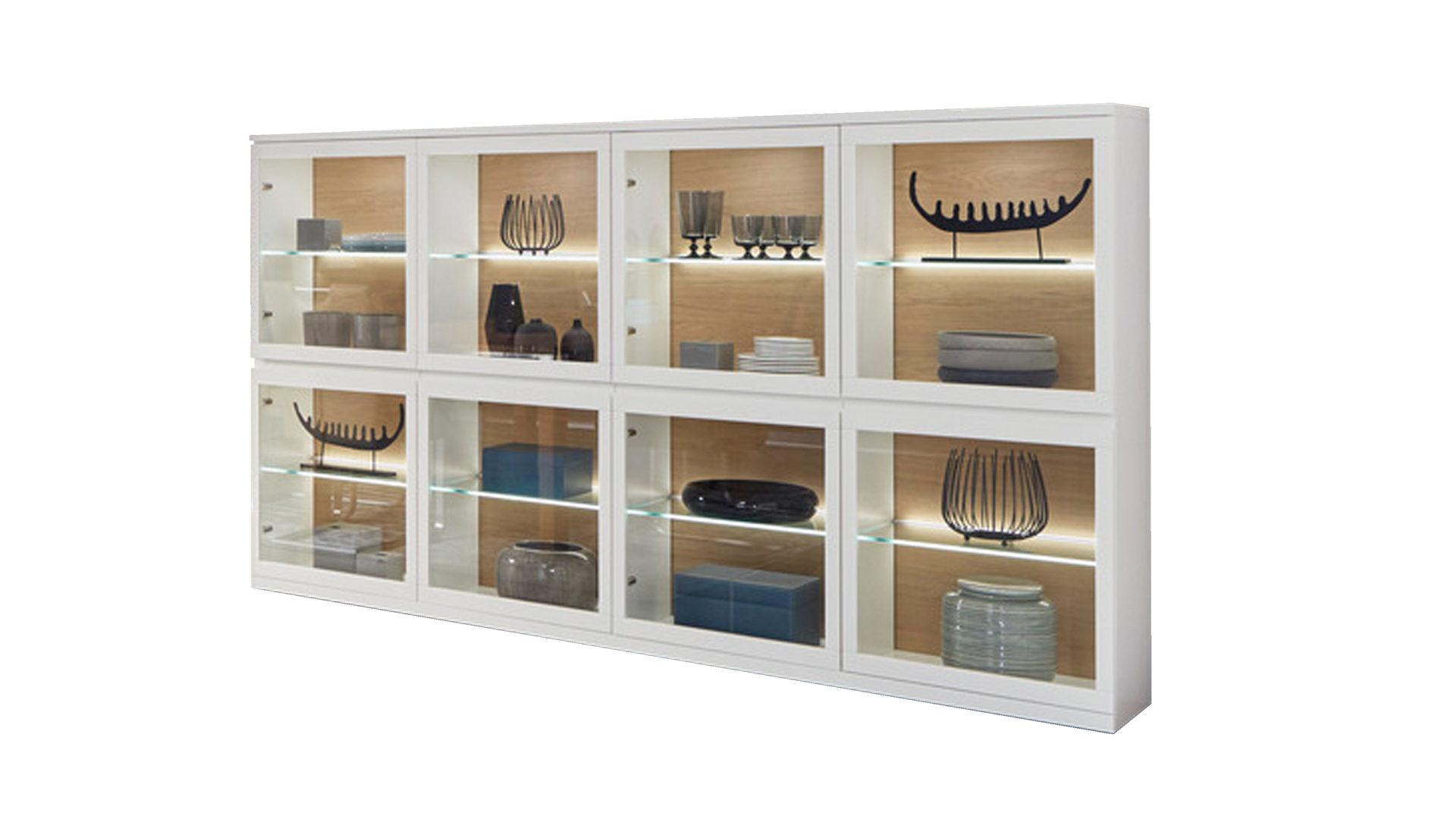 Varianta Highboard Mattweiße Lackoberflächen Acht Glastüren