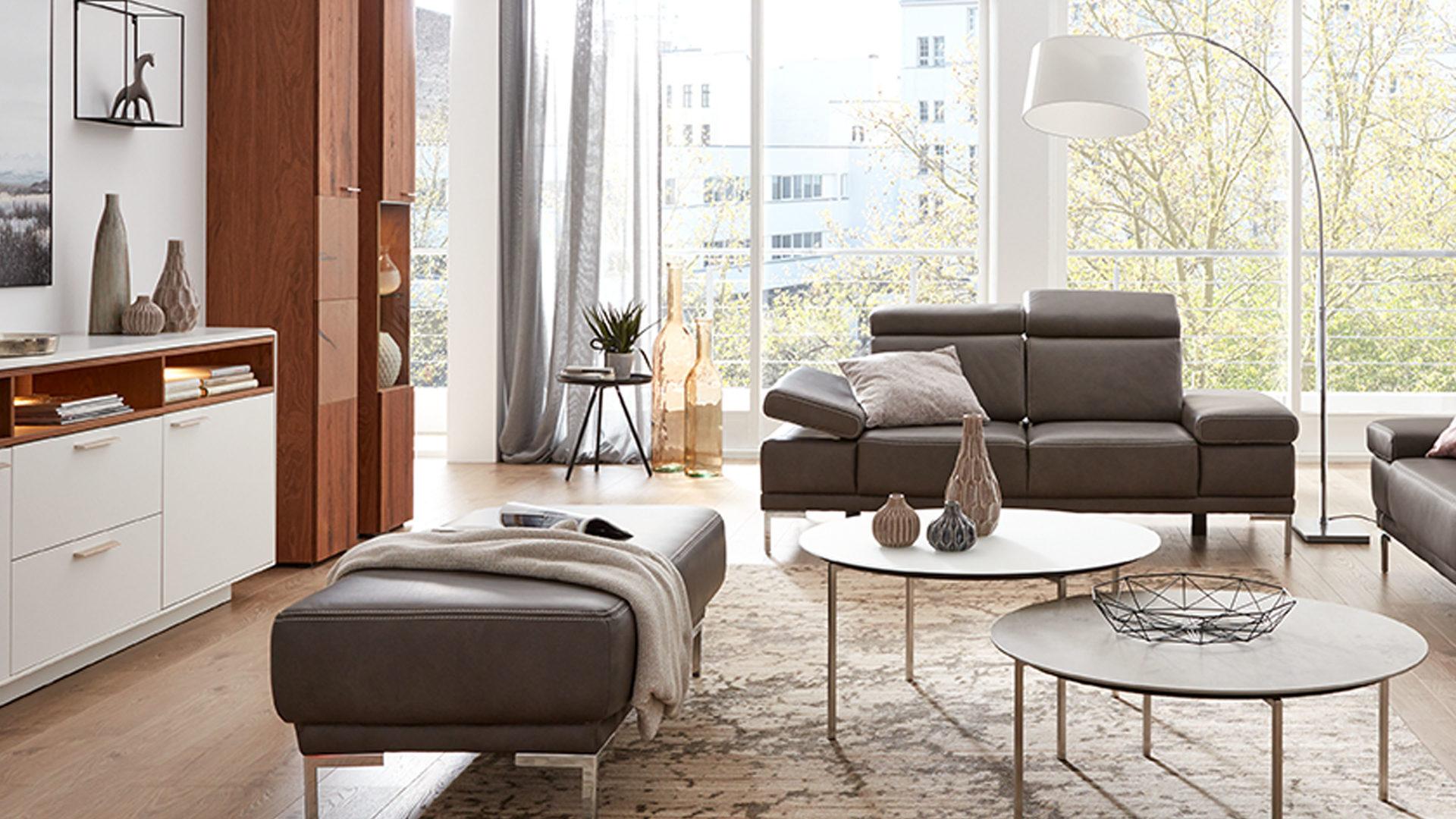 Interliving Sofa Serie 4251 Zweisitzer Dunkelgraues Leder Vintage