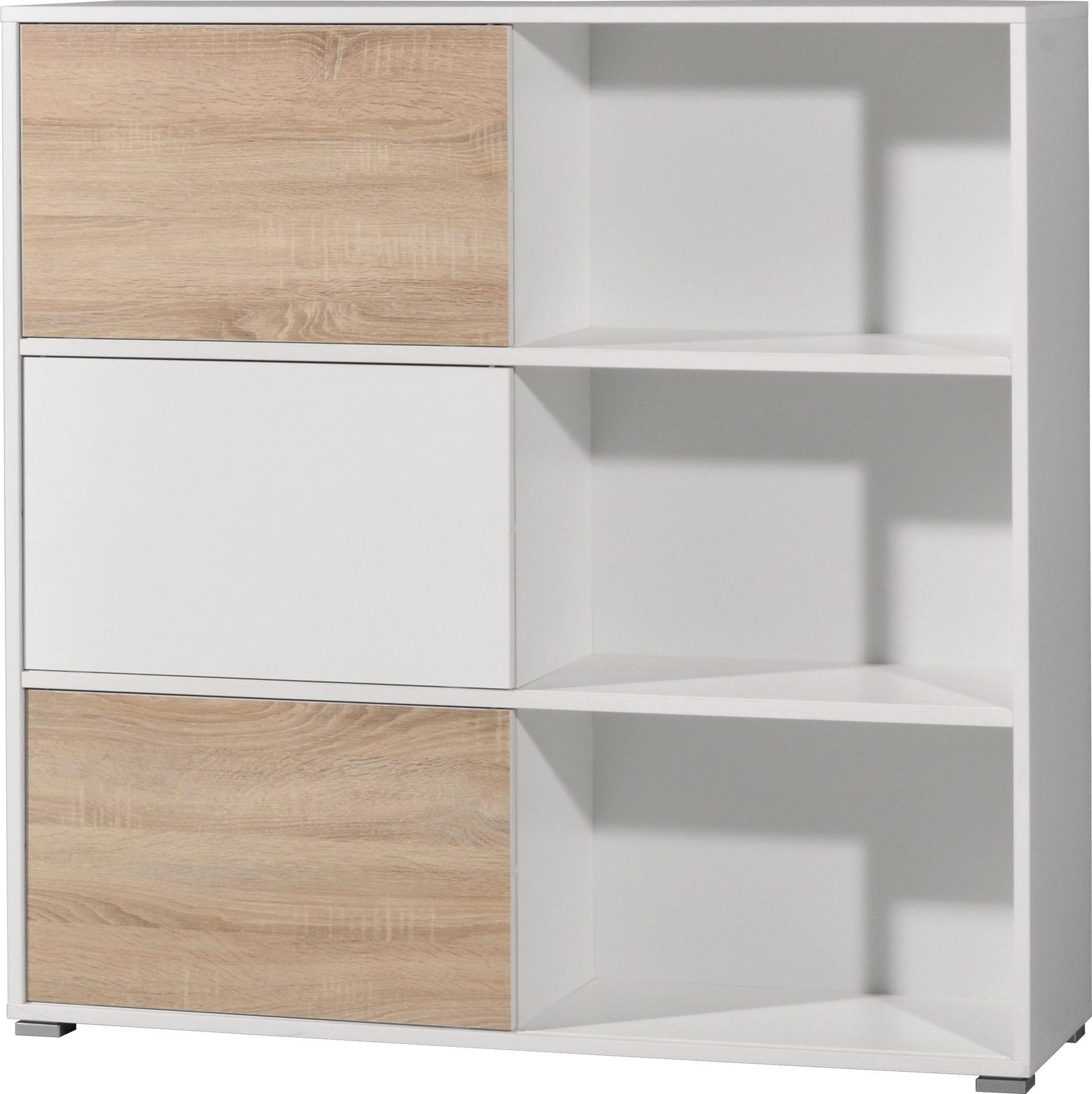Schiebetürregal Slide als attraktives Büromöbel , weiße & Sonoma ...