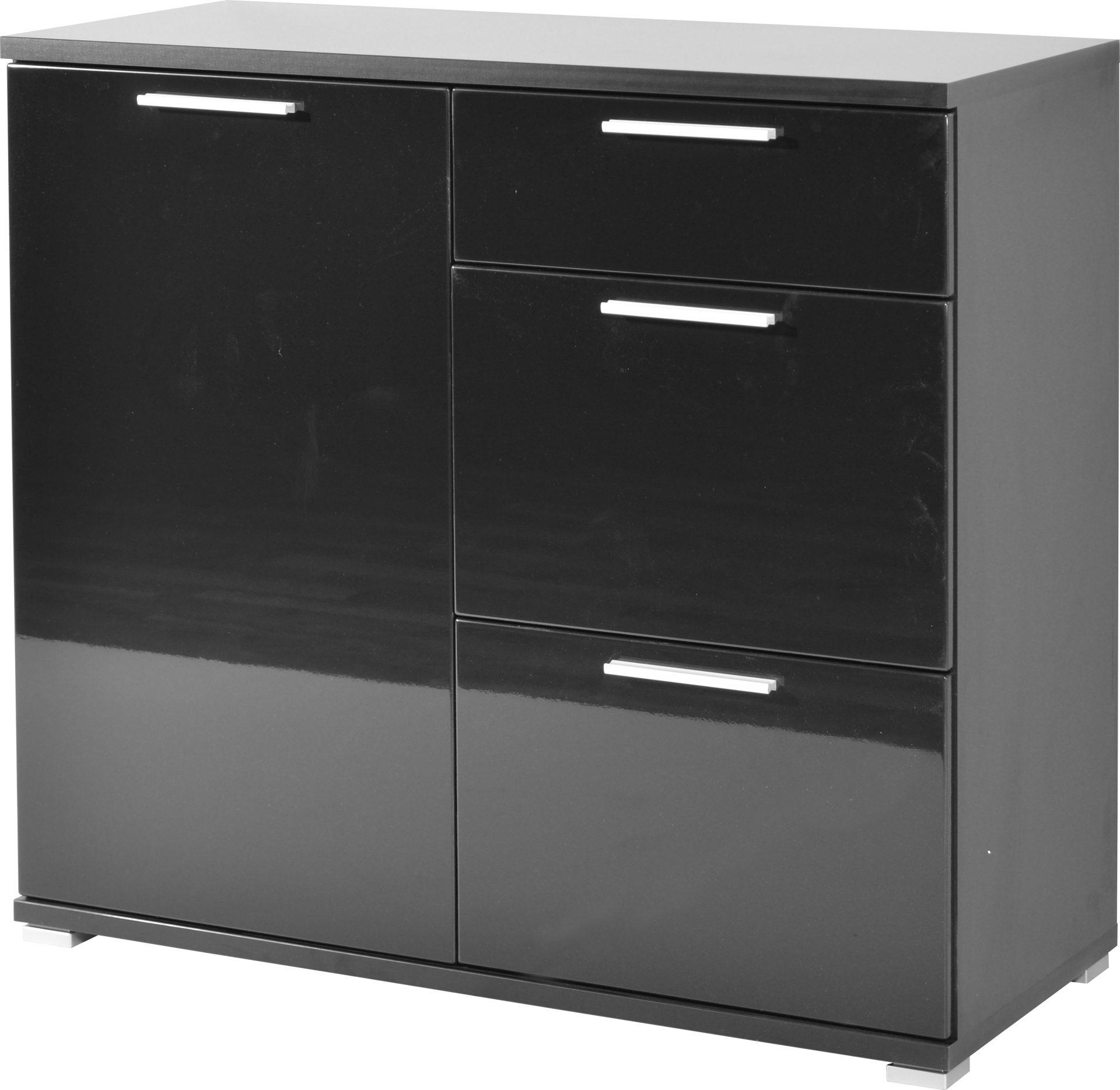 Kommode schwarz holz  Kommode Almeria als stilvolles Sideboard , schwarze Kunststoff ...