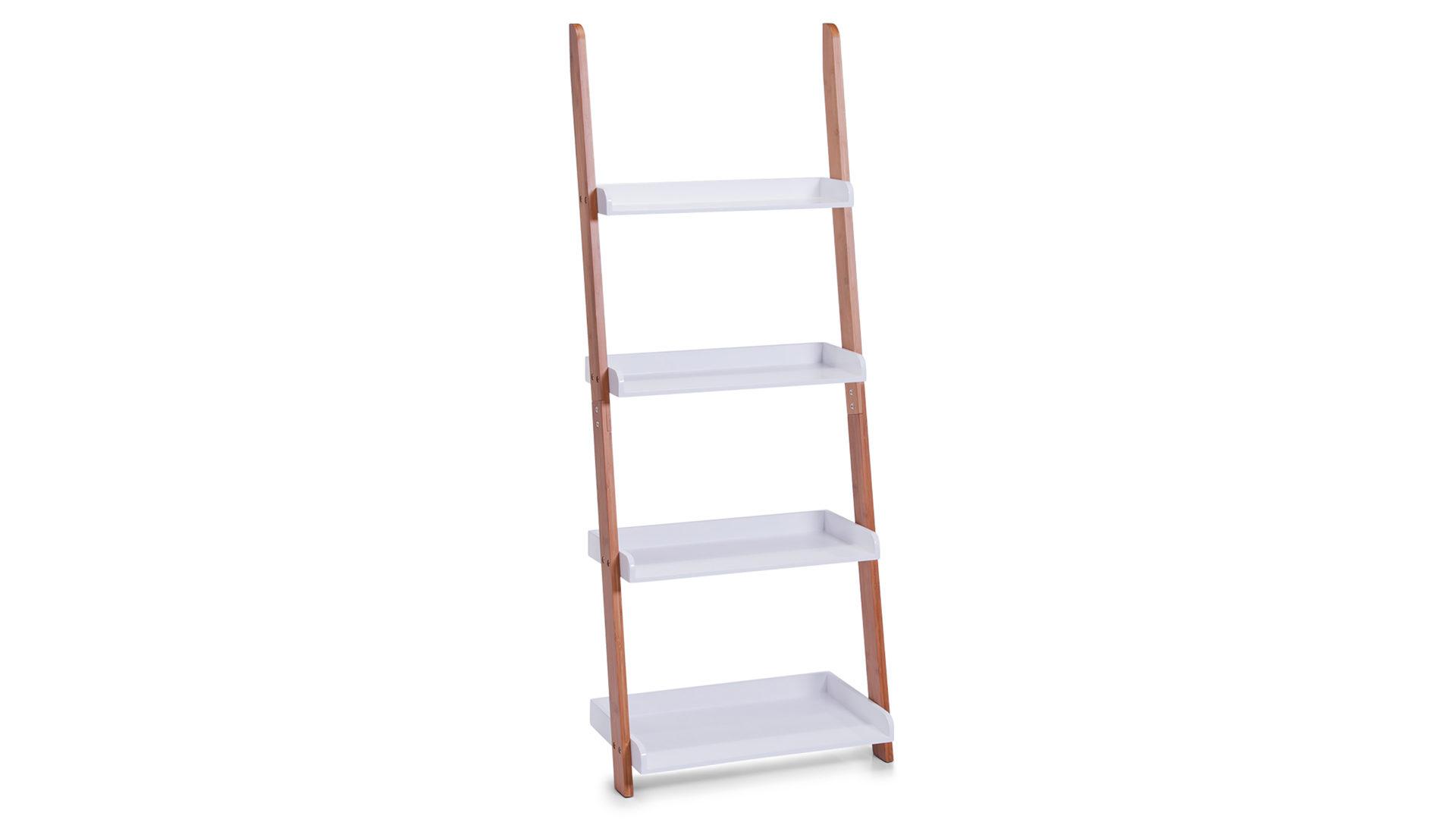 Leiterregal, auch als Badmöbel geeignet , weiße & bambusfarbene ...