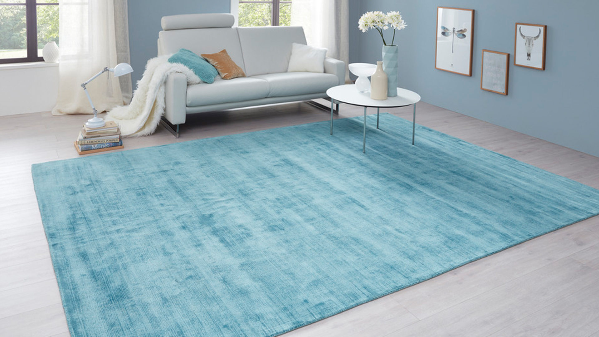 Handwebteppich Interliving aus Textil in Blau Interliving Teppich Serie A-8050 Türkisfarben – ca. 170 x 240 cm