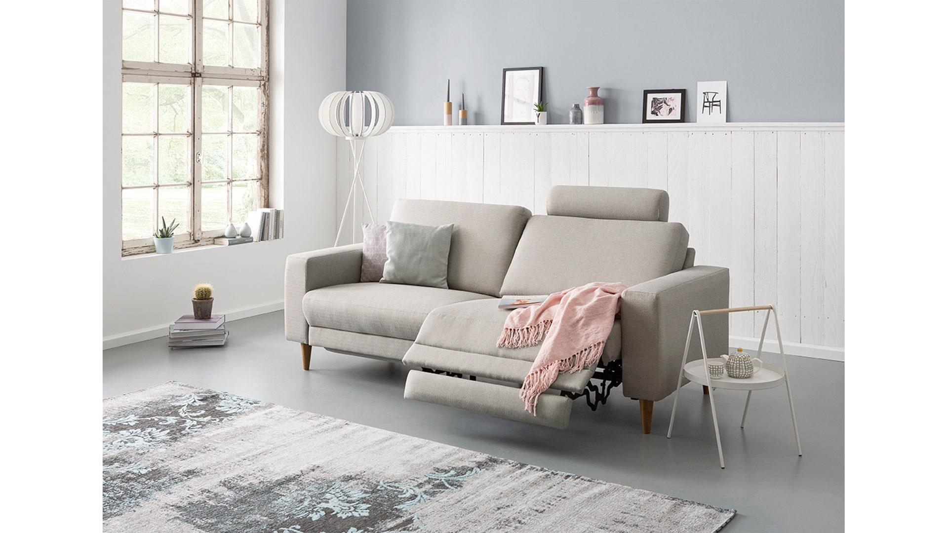 Zweisitzer Sofa Mit Funktion Polstermöbel Grauer Bezug Idaho 2801