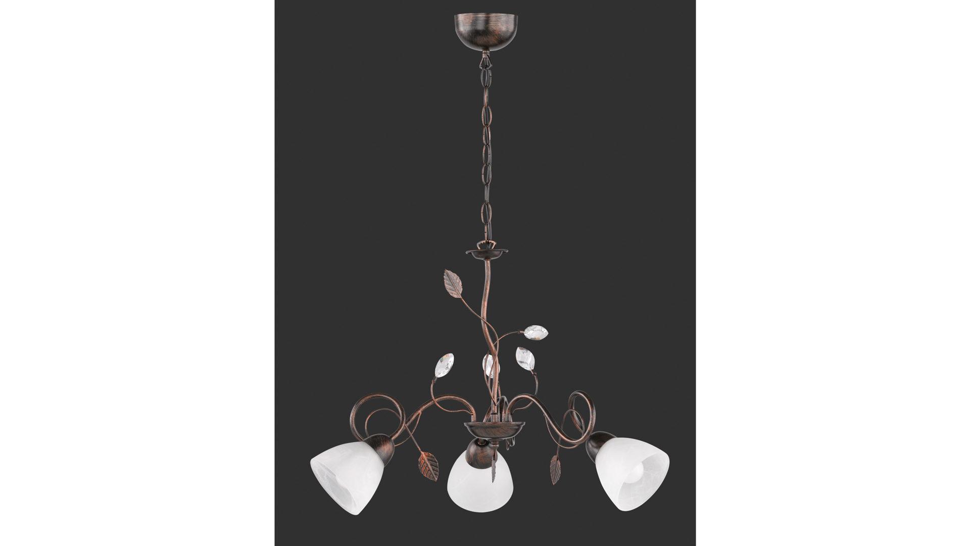Kronleuchter Trio ~ Kronleuchter antik rostfarbenes metall u drei lampenschirme