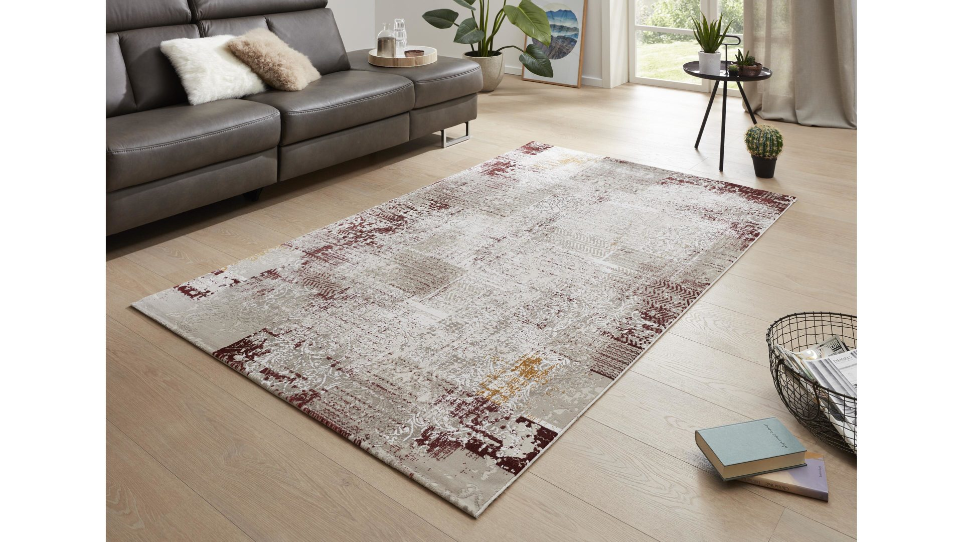 Webteppich Interliving aus Kunstfaser in Rot Interliving Teppich Serie L-8540 beige-rot – ca. 140 x 200 cm
