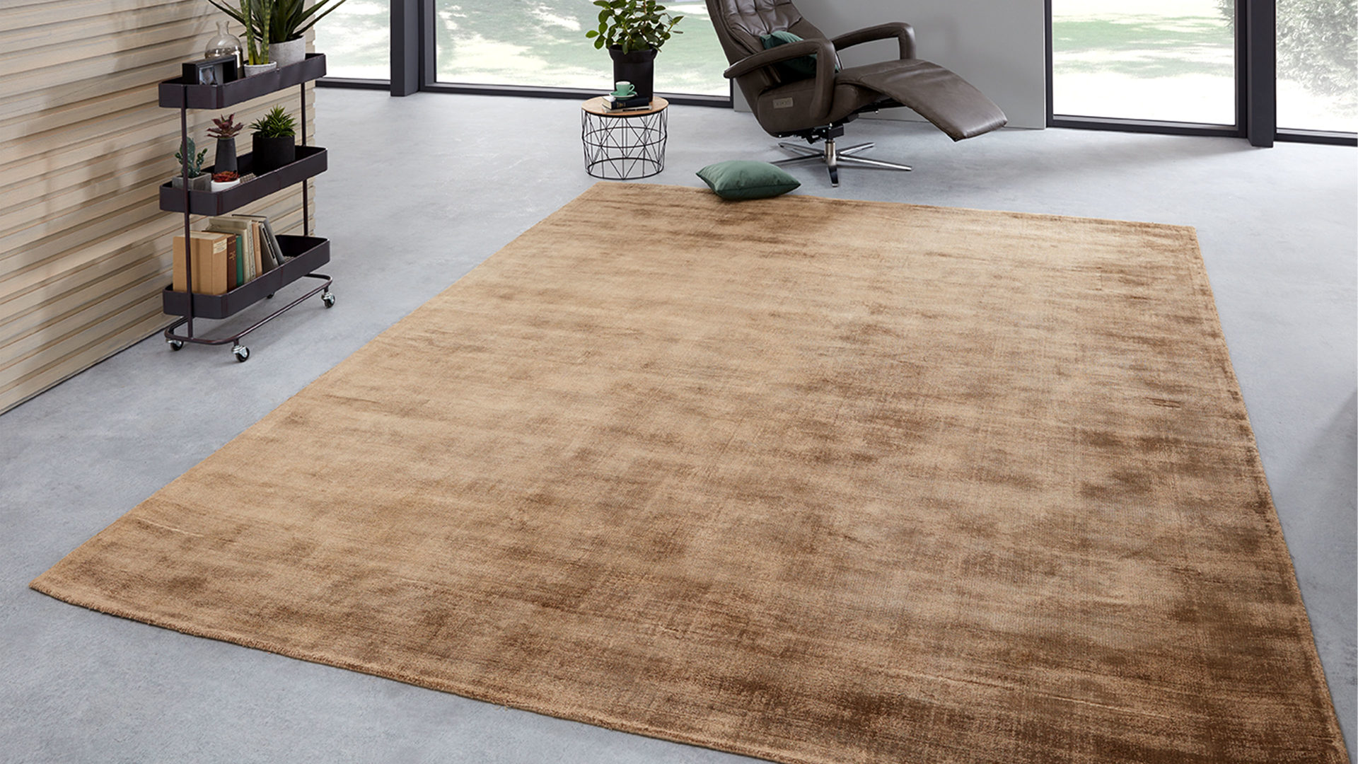 Handwebteppich Interliving aus Textil in Braun Interliving Teppich Serie A-8040 Camelfarben – ca. 200 x 300 cm