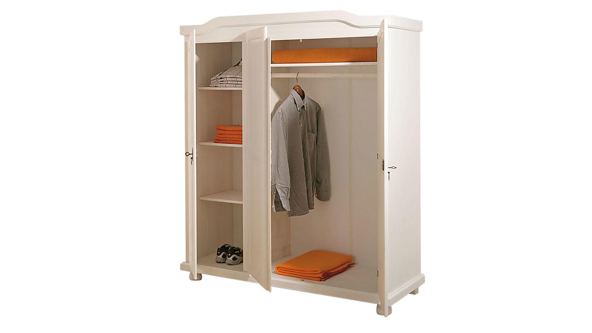 Kleiderschrank Bastian im Landhaus-Stil fürs Schlafzimmer, weiß ...