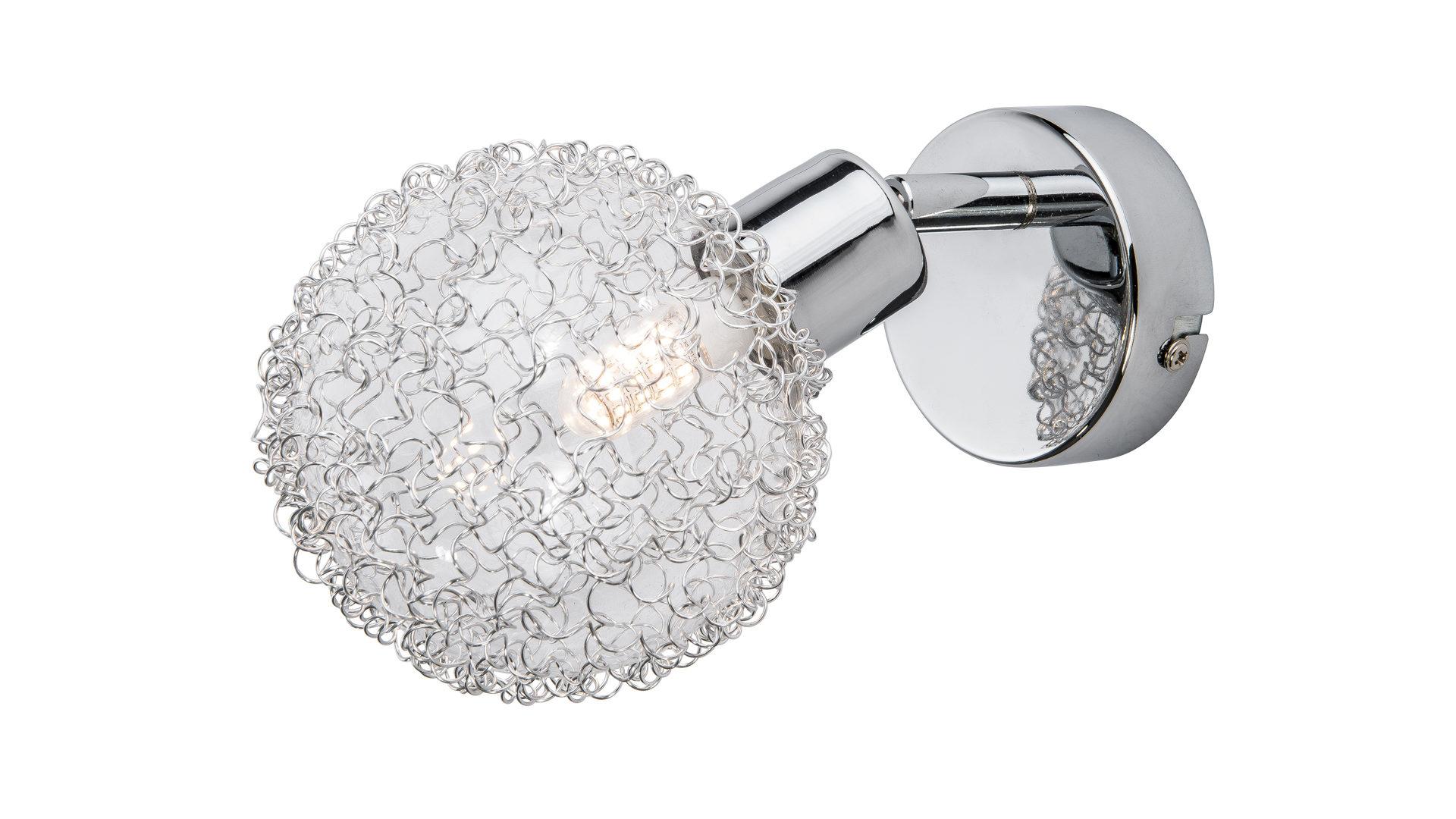 LED Spotleuchte Ryder, verchromtes Metall & Glas mit Drahtgeflecht ...